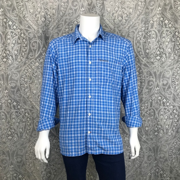 Simms Other - Simms Blue Plaid Nylon Lightweight Fishing Shirt
